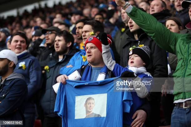 Fans display a tshirt in tribute to Emiliano Sala prior to the Premier League match between Southampton FC and Cardiff City at St Mary's Stadium on...
