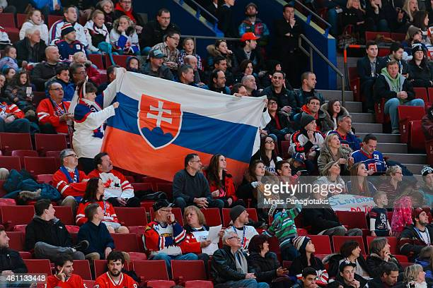 Fans display the flag of Slovakia in a quarterfinal round during the 2015 IIHF World Junior Hockey Championships at the Bell Centre between Team...