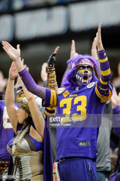 Fans do the skol chant during the game between the Minnesota Vikings and the Green Bay Packers on October 15, 2017 at US Bank Stadium in Minneapolis,...
