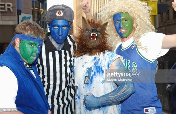 Fans dress up for the block party prior to the Minnesota Timberwolves game against the Denver Nuggets Game five of the Western Conference...