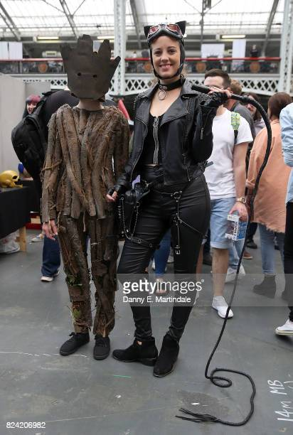 Fans dress up in costume during the London Film and Comic Con day 2 at Olympia London on July 29 2017 in London England