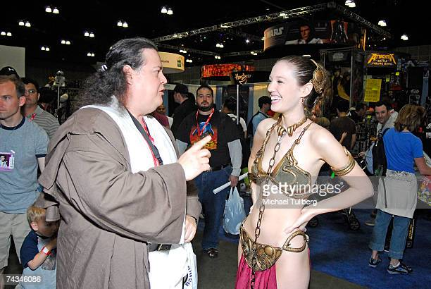 Fans dressed as a Jedi Knight and Princess Leia chat at the Star Wars Celebration IV convention held at the Los Angeles Convention Center on May 27...