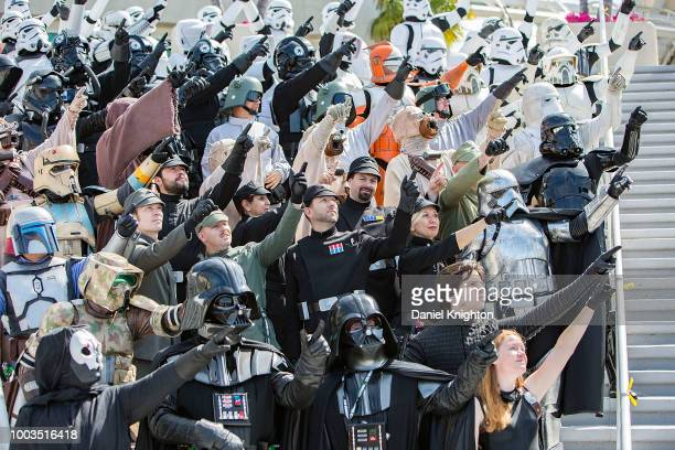 Fans dressed as characters from Star Wars attend a group photoshoot at ComicCon International on July 21 2018 in San Diego California