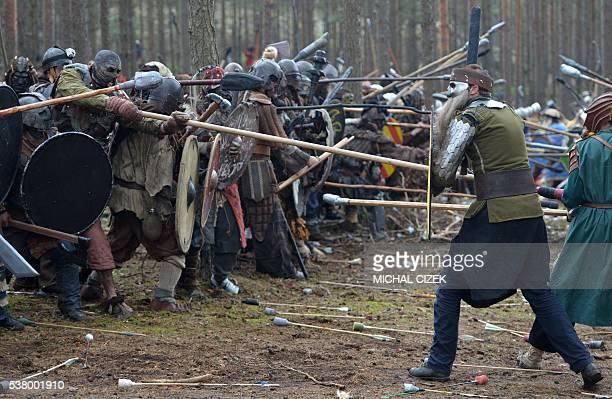 Fans dressed as characters from The Hobbit book fight in the forest near the village of Doksy some 80 km from Prague on June 4 2016 The epic clash...