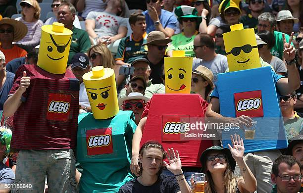 Fans dressed as lego men during day 2 of the HSBC Cape Town Sevens at Cape Town Stadium on December 13 2015 in Cape Town South Africa