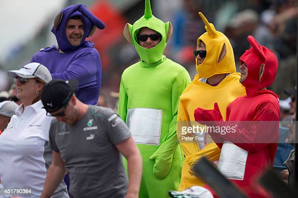NORTHAMPTON ENGLAND JULY 06 Fans dressed as Teletubbies attend the British F1 Grand Prix at Silverstone Circuit on July 6 2014 in Northampton England