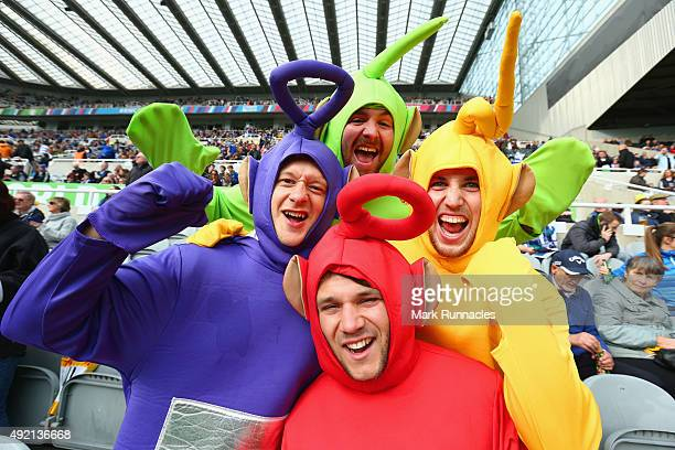 Fans dressed as Teletubbies prior to the 2015 Rugby World Cup Pool B match between Samoa and Scotland at St James' Park on October 10 2015 in...