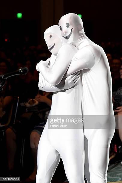 Fans dressed as the Greendale Human Being mascot ask questions at the Community panel during ComicCon International 2014 at the San Diego Convention...