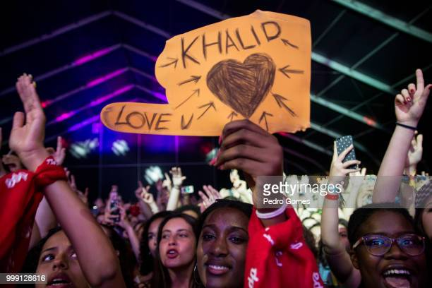 Fans during Khalid performance on the Sagres Stage on day 1 of NOS Alive festival on July 12 2018 in Lisbon Portugal