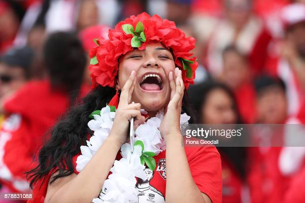 Fans during the 2017 Rugby League World Cup Semi Final match between Tonga and England at Mt Smart Stadium on November 25 2017 in Auckland New Zealand