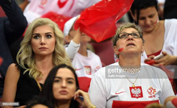 Fans during the 2018 FIFA World Cup Russia eliminations match between Poland and Romania on June 10 2017 at the National Stadium in Warsaw Poland