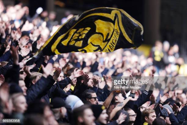 AIK fans during the Allsvenskan match between AIK and Hammarby IF at Friends arena on April 17 2017 in Solna Sweden