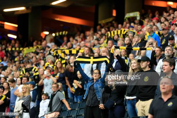 AIK fans during the Allsvenskan match between AIK and IFK Norrkoping at Friends arena on July 16 2017 in Solna Sweden