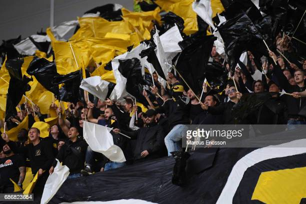 Fans during the Allsvenskan match between Djurgardens IF and AIK at Tele2 Arena on May 22, 2017 in Stockholm, Sweden.