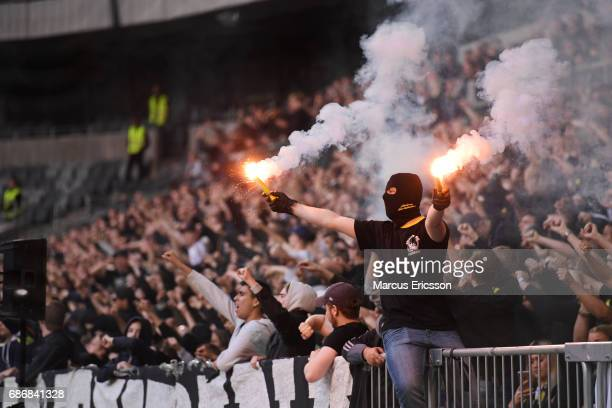 AIK fans during the Allsvenskan match between Djurgardens IF and AIK at Tele2 Arena on May 22 2017 in Stockholm Sweden