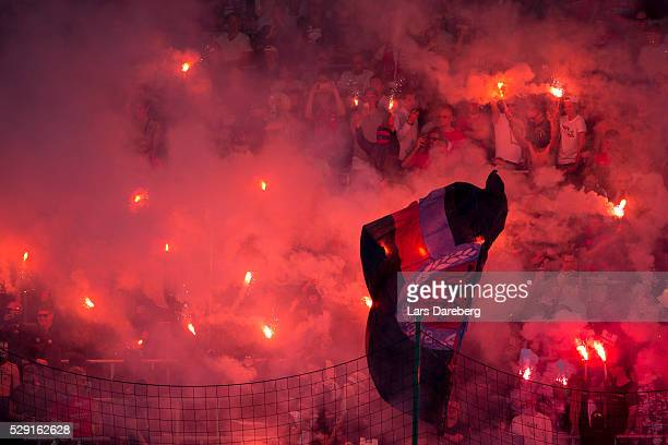 Fans during the Allsvenskan match between Helsingborgs IF and Malmo FF at Olympia on May 8 2016 in Helsingborg Sweden