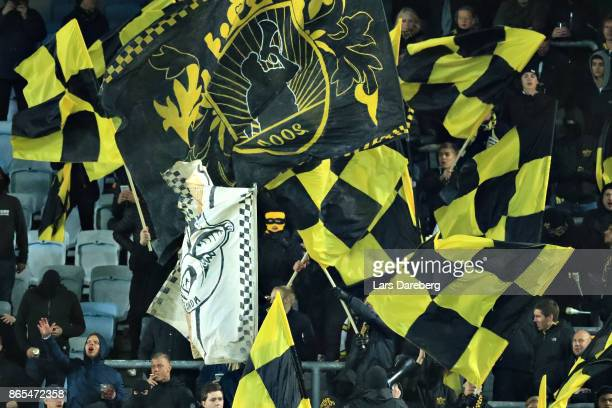 AIK fans during the allsvenskan match between Malmo FF and AIK at Swedbank Stadion on October 23 2017 in Malmo Sweden