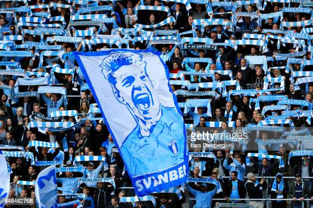 Fans during the Allsvenskan match between Malmo FF and Hammarby IF at Swedbank Stadion on September 17, 2017 in Malmo, Sweden.