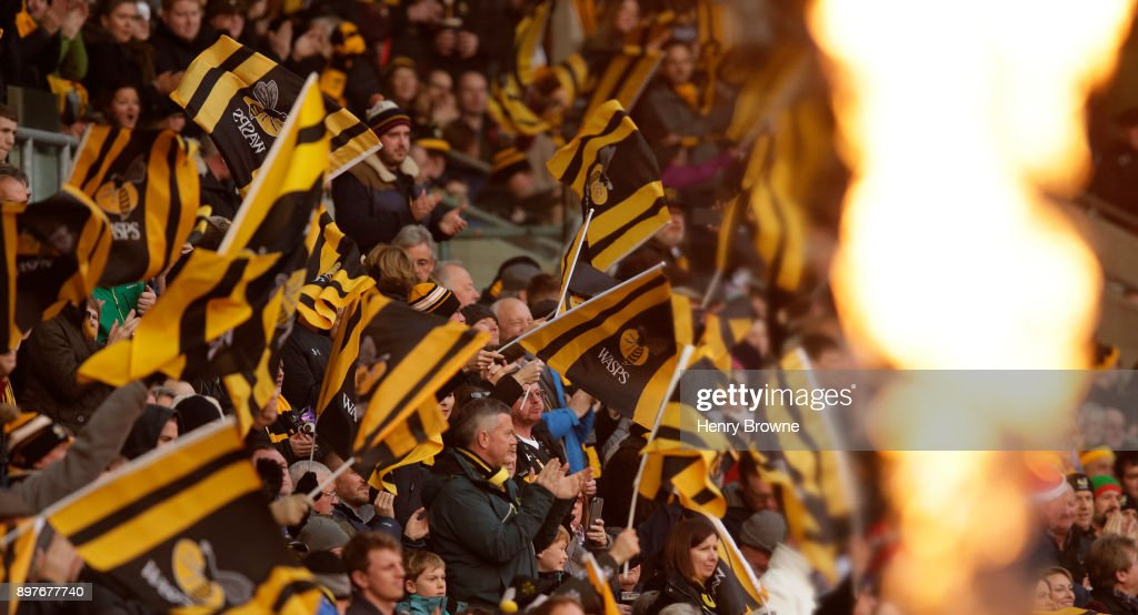 Fans during the Aviva Premiership match between Wasps and Gloucester Rugby at The Ricoh Arena on December 23, 2017 in Coventry, England.