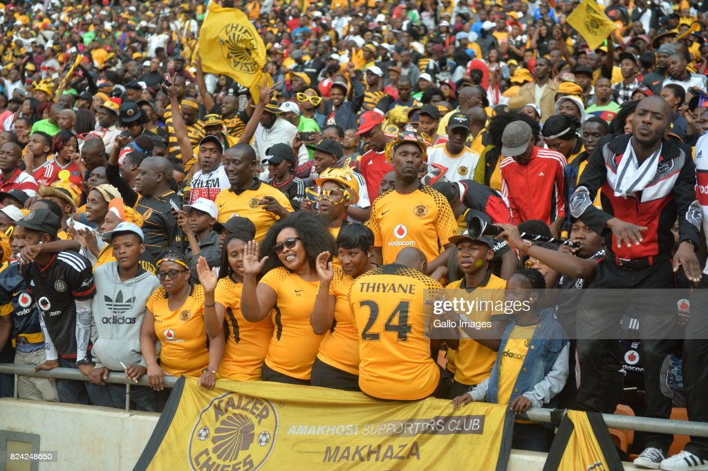 Fans during the Carling Black Label Champion Cup match between Orlando Pirates and Kaizer Chiefs at FNB Stadium on July 29, 2017 in Johannesburg, South Africa. At least two people have been reported to have been killed and several injured in a crush during the game at South Africa's biggest stadium.
