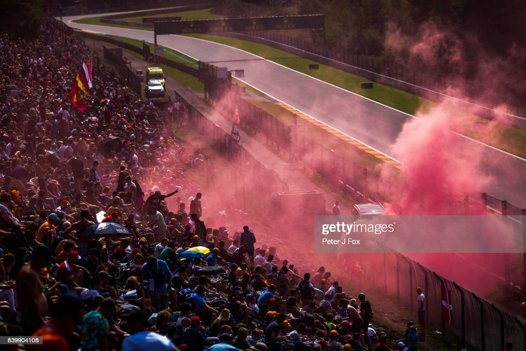 Fans during the Formula One Grand Prix of Belgium at Circuit de Spa-Francorchamps on August 27, 2017 in Spa, Belgium.