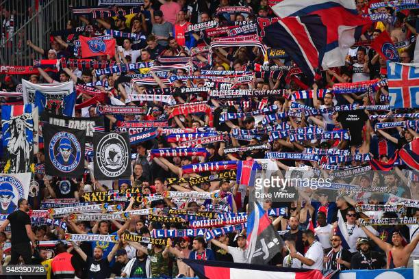PSG fans during the French Cup Semi Final match between Caen and Paris Saint Germain on April 18 2018 in Caen France