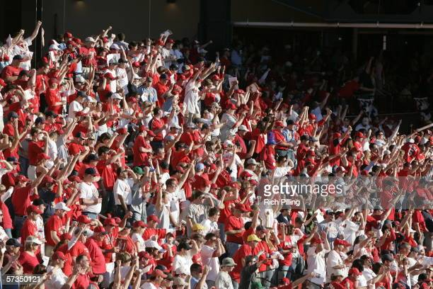 Fans during the home opening game between the Milwaukee Brewers and the St Louis Cardinals on April 10 2006 at the new Busch Stadium in St Louis...
