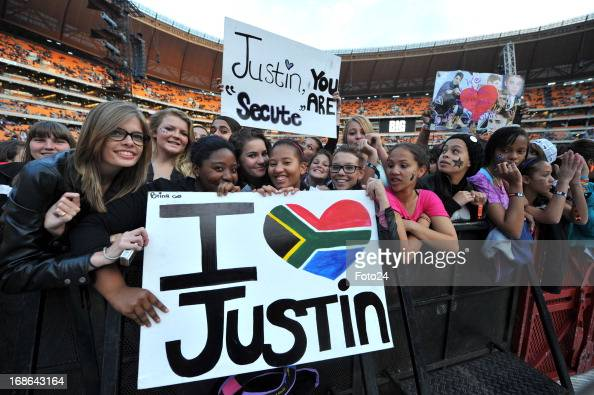 Fans during the Justin Bieber concert at the FNB Stadium ...