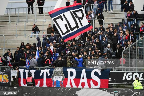 PSG fans during the Ligue 1 match between Amiens SC and Paris Saint Germain at Stade de la Licorne on January 12 2019 in Amiens France