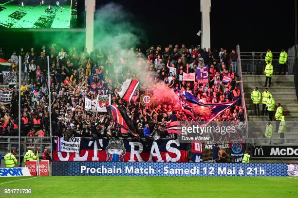 PSG fans during the Ligue 1 match between Amiens SC and Paris Saint Germain at Stade de la Licorne on May 4 2018 in Amiens