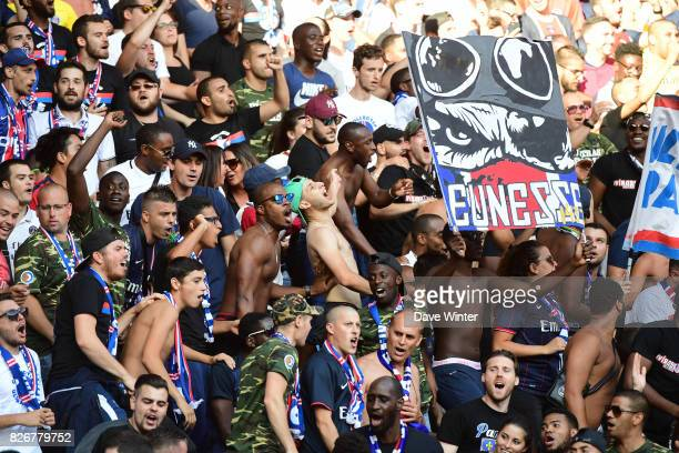 PSG fans during the Ligue 1 match between Paris Saint Germain and Amiens SC at Parc des Princes on August 5 2017 in Paris France