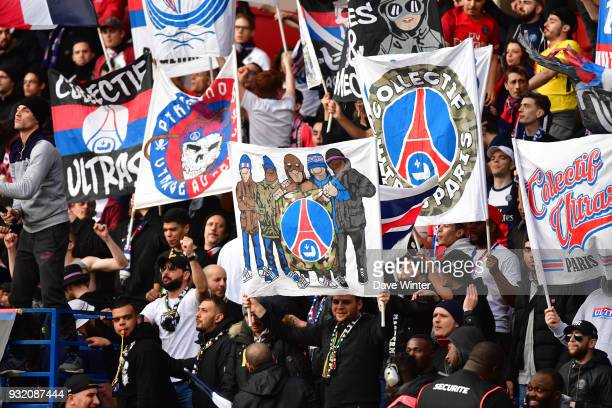 PSG fans during the Ligue 1 match between Paris Saint Germain and Angers SCO on March 14 2018 in Paris France