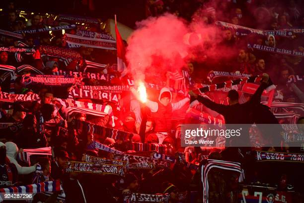 PSG fans during the Ligue 1 match between Paris Saint Germain and Olympique Marseille at Parc des Princes on February 25 2018 in Paris France