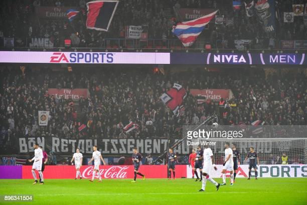 PSG fans during the Ligue 1 match between Paris Saint Germain and SM Caen at Parc des Princes on December 20 2017 in Paris France