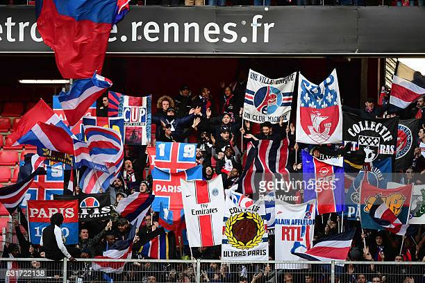 PSG fans during the Ligue 1 match between Stade Rennais and Paris Saint Germain at Roazhon Park on January 14 2017 in Rennes France