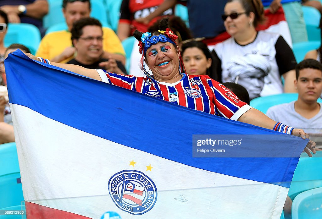 Fans during the Men's Football Quarterfinal match at Arena Fonte Nova Stadium on Day 8 of the Rio 2016 Olympic Games on August 13, 2016 in Salvador, Brazil.