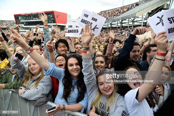 Fans during the One Love Manchester Benefit Concert at Old Trafford Cricket Ground on June 4 2017 in Manchester England