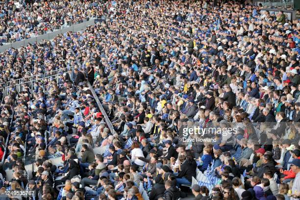 Fans during the round 1 Super Rugby Aotearoa match between the Blues and the Hurricanes at Eden Park on June 14, 2020 in Auckland, New Zealand.