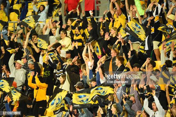 Fans during the round six Super Rugby match between the Hurricanes and the Blues at Westpac Stadium on March 07, 2020 in Wellington, New Zealand.