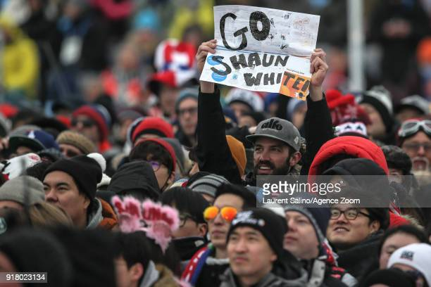 Fans during the Snowboarding Men's Halfpipe Finals at Pheonix Snow Park on February 14, 2018 in Pyeongchang-gun, South Korea.