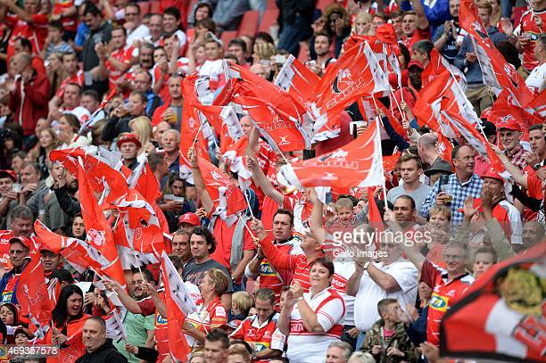 Fans during the Super Rugby match between Emirates Lions and Cell C Sharks at Emirates Airline Park on April 11 2015 in Johannesburg South Africa