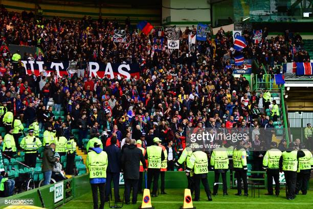 PSG fans during the Uefa Champions League match between Glasgow Celtic and Paris Saint Germain at Celtic Park Stadium on September 12 2017 in Glasgow...