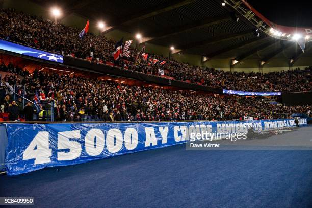 PSG fans during the UEFA Champions League Round of 16 Second Leg match between Paris Saint Germain and Real Madrid at Parc des Princes on March 6...
