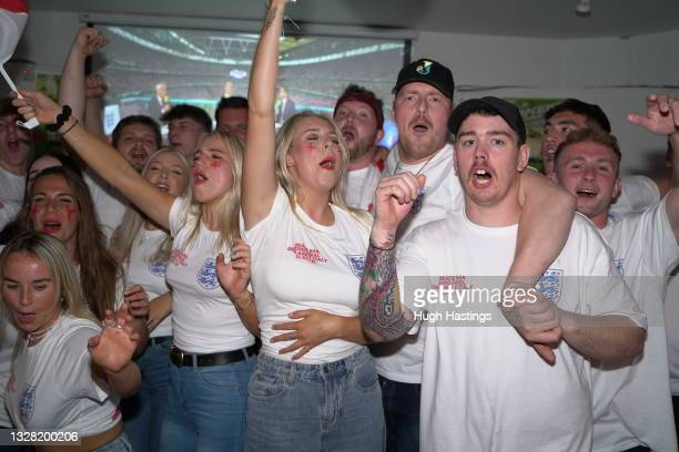 Fans during the UEFA Euro 2020 Championship Final between Italy and England at Fistral Beach Bar on July 11, 2021 in Newquay, United Kingdom. England...
