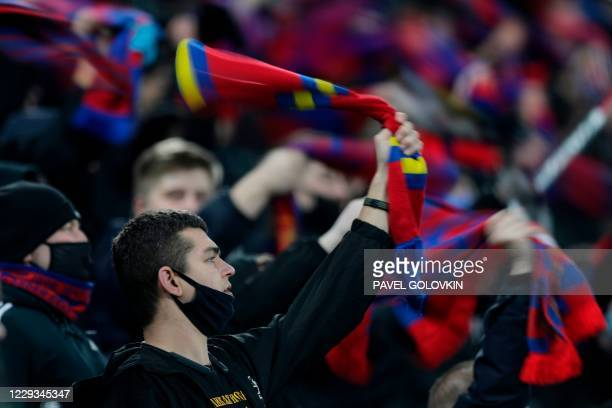 Fans during the UEFA Europa League football match between CSKA Moscow and Dinamo Zagreb at Moscow's CSKA Arena on October 29, 2020.