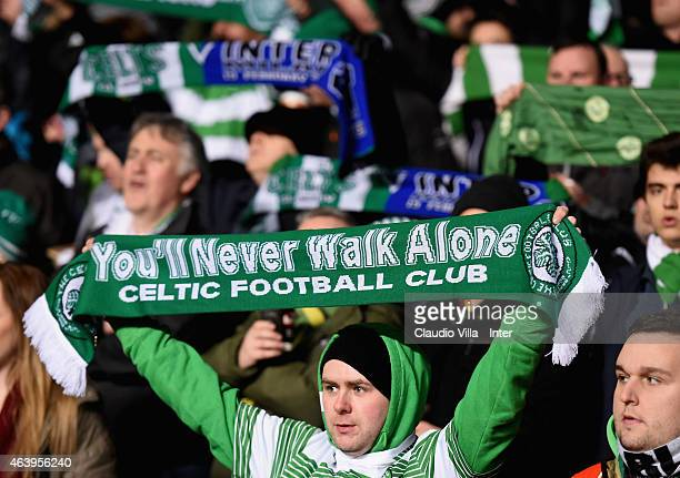 Fans during the UEFA Europa League Round of 32 match between Celtic FC and FC Internazionale Milano at Celtic Park on February 19 2015 in Glasgow...