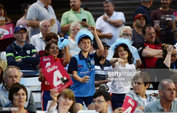 Fans during the Vitality Blast match between Derbyshire Falcons and Notts Outlaws at The 3aaa County Ground on July 13 2018 in Derby England