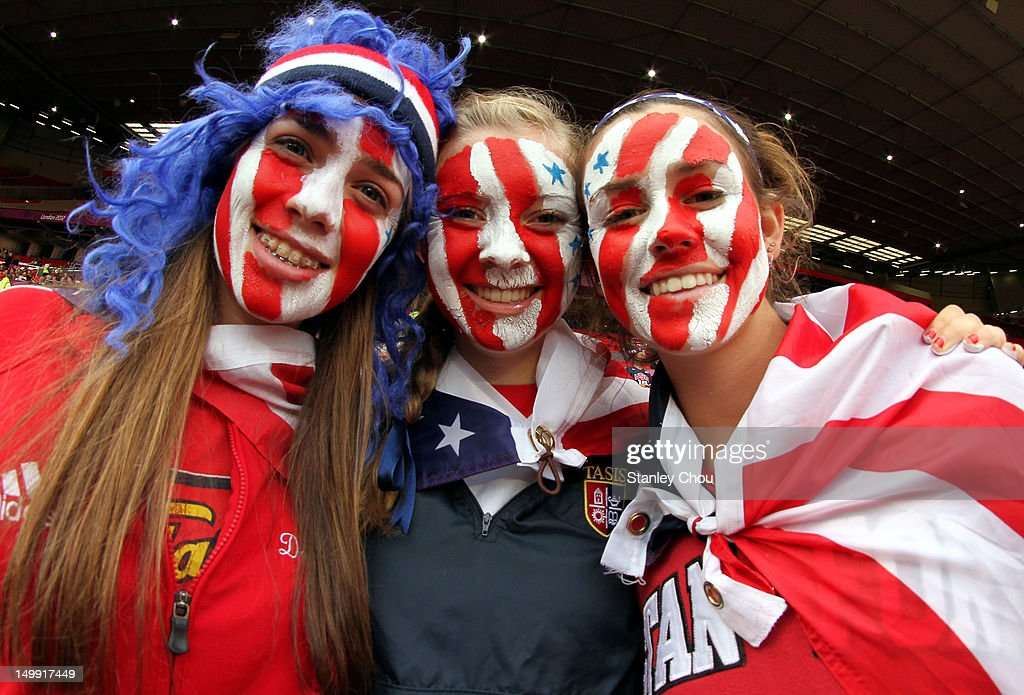 USA fans during the Women's Football Semi Final match between Canada and USA, on Day 10 of the London 2012 Olympic Games at Old Trafford on August 6, 2012 in Manchester, England.