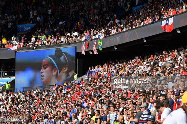 Fans during USA vs CHILE at the 2019 World cup in France in Parc des Princes in Paris