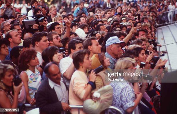 Fans eagerly await celebrities as they arrive at the Oscars April 11 1988 Dorothy Chandler Pavilion Los Angeles California